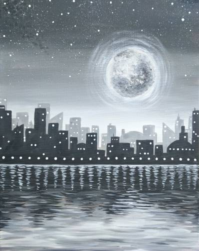 A Moonlit Noir Night paint nite project by Yaymaker