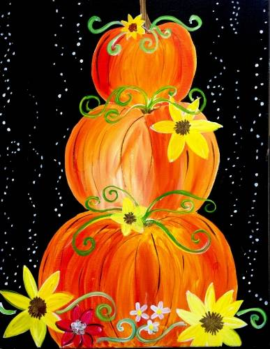 A Whimsical Pumpkins paint nite project by Yaymaker