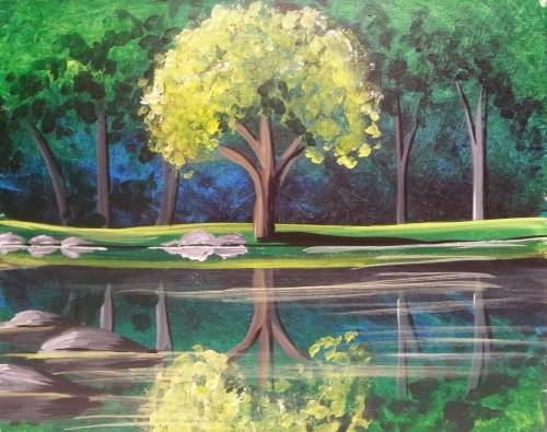 A Peaceful Pond paint nite project by Yaymaker