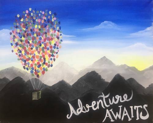 A Adventure Awaits paint nite project by Yaymaker