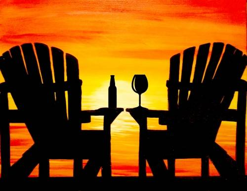 A Muskoka Chairs Sunset with Drinks paint nite project by Yaymaker