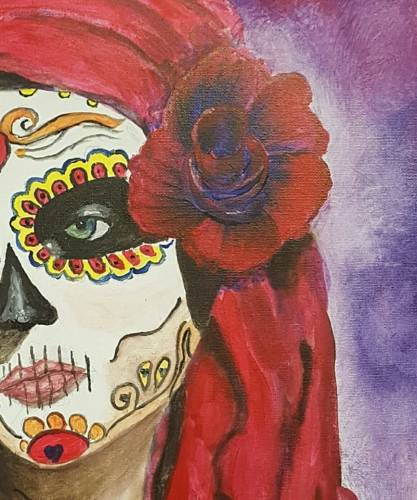 A Calavera Sugar Skull Day of the Dead paint nite project by Yaymaker