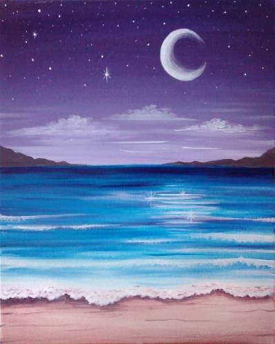A The Beach At Night paint nite project by Yaymaker