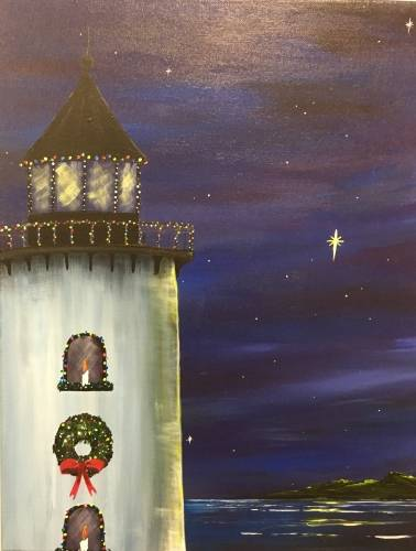 A Coastal Christmas paint nite project by Yaymaker