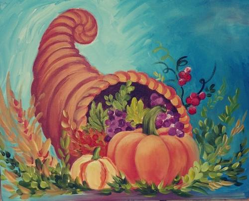 A The Horn of Plenty paint nite project by Yaymaker