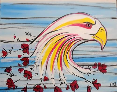 A River Hawk Poppies paint nite project by Yaymaker