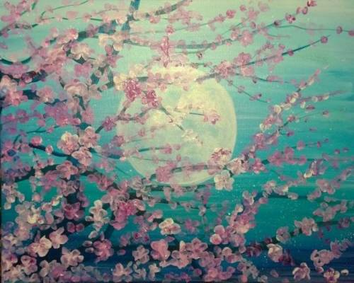 A Pink Blossoms with Moon paint nite project by Yaymaker