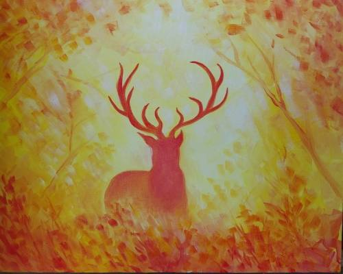 A Golden Autumn Mist paint nite project by Yaymaker