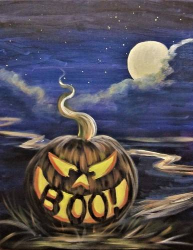 A Moonlit Pumpkin Path paint nite project by Yaymaker