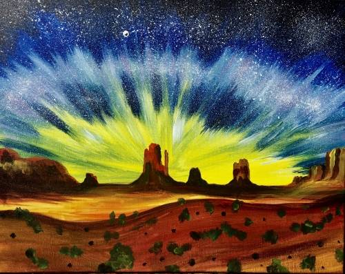 A Monument Valley Milky Way paint nite project by Yaymaker