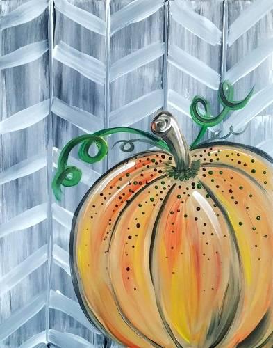 A Chevron Pumpkin paint nite project by Yaymaker