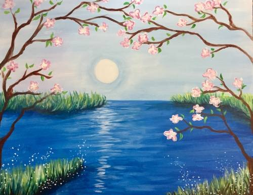 A Cherry Blossom Waters paint nite project by Yaymaker