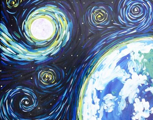A Lets Gogh to Space paint nite project by Yaymaker