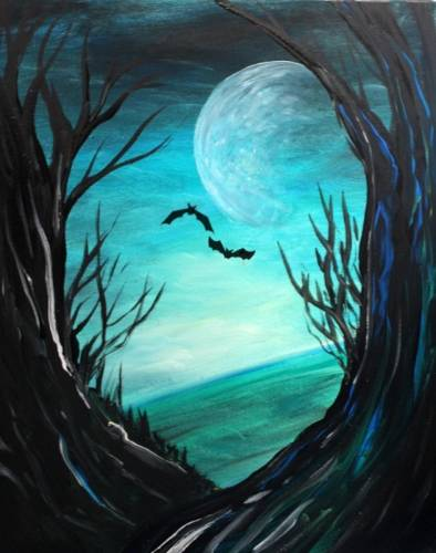 A Spooky Forest II paint nite project by Yaymaker