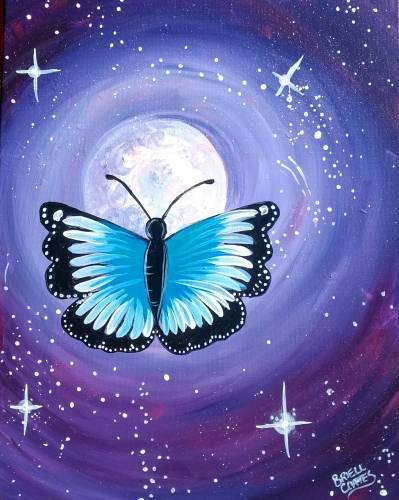 A Blue Moonlit Butterfly paint nite project by Yaymaker