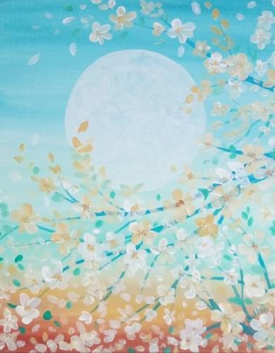 A White Blossoms with Moon paint nite project by Yaymaker