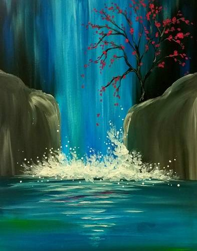 A Waterfall Lagoon paint nite project by Yaymaker