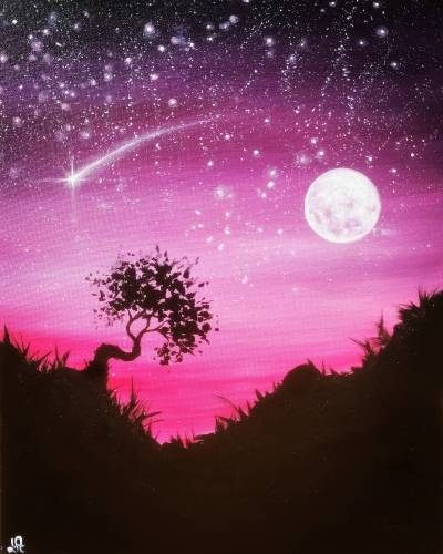 A Moonlit Lone Tree paint nite project by Yaymaker