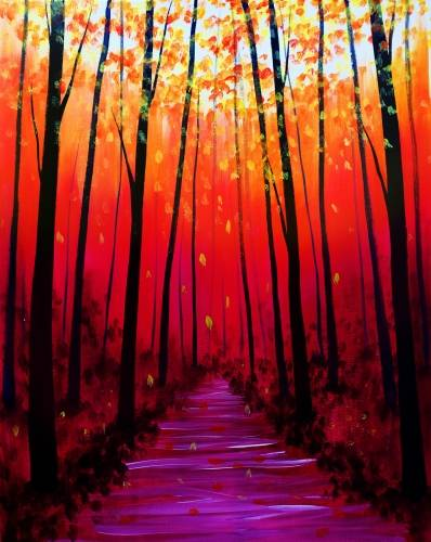 A Walk In The Fall Forest paint nite project by Yaymaker