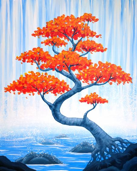 A Autumn Bonsai Falls paint nite project by Yaymaker