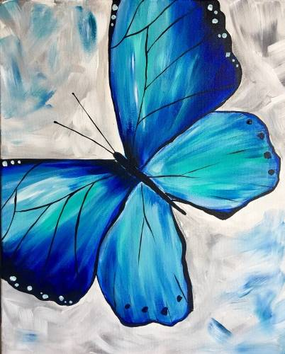 A Blue Butterfly Spread Your Wings and Fly paint nite project by Yaymaker