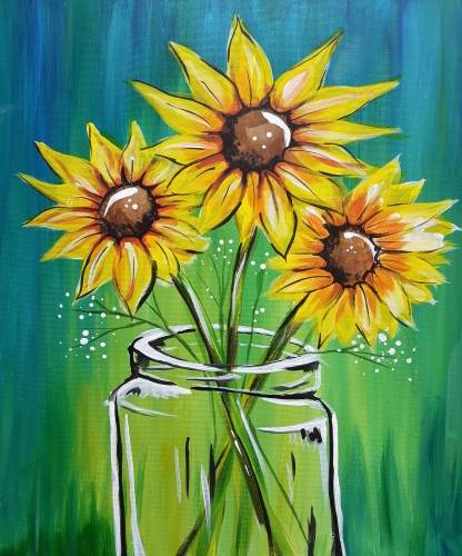 A Evening Sunflowers paint nite project by Yaymaker