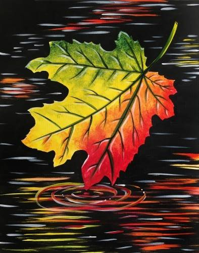 A Maple Leaf Reflection paint nite project by Yaymaker