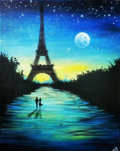 A Moonlit Night In Paris paint nite project by Yaymaker