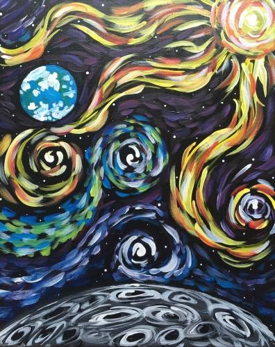 A Lets Gogh to the Moon paint nite project by Yaymaker