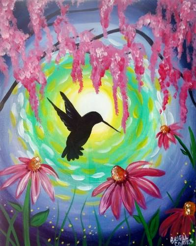 A Midsummer Moonlit Hummingbird paint nite project by Yaymaker