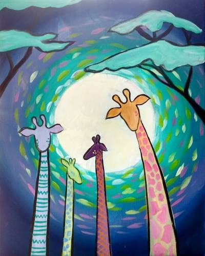 A Pastel Whimsical Giraffes paint nite project by Yaymaker