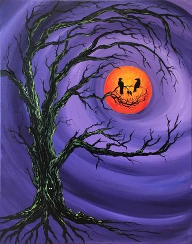 A Bad Moon Smiling paint nite project by Yaymaker