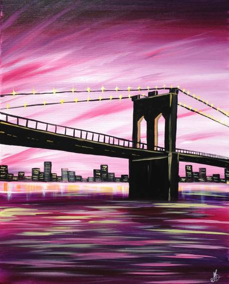 A Brooklyn Bridge at Dusk paint nite project by Yaymaker