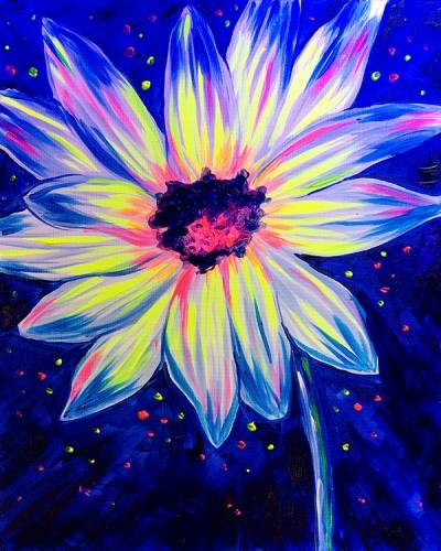 A BLACK LIGHT Glow Flower paint nite project by Yaymaker