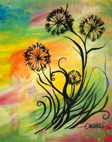 A Windswept Wildflowers paint nite project by Yaymaker