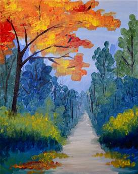 A Fall Tree Road paint nite project by Yaymaker