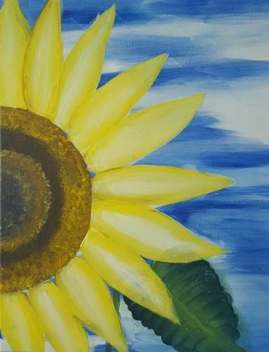 A Sunflower Under Sunny Skies paint nite project by Yaymaker