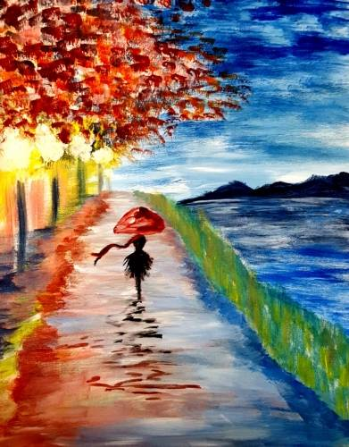 A Strolling Park Reflections paint nite project by Yaymaker