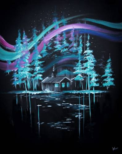 A Cabin Under The Aurora paint nite project by Yaymaker