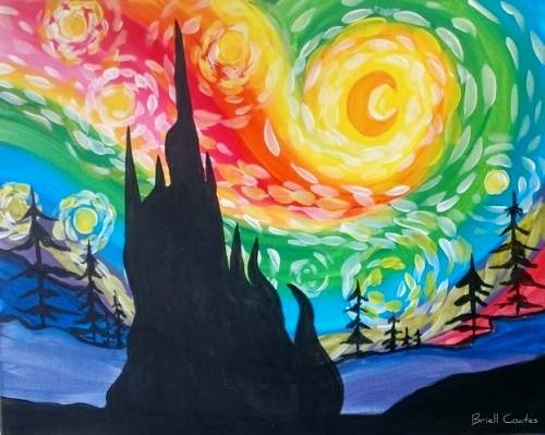 A Rainbow Starry Night Delight paint nite project by Yaymaker