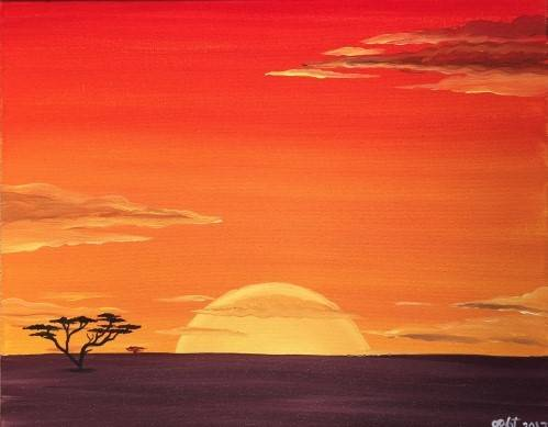 A Sunrise in Africa paint nite project by Yaymaker