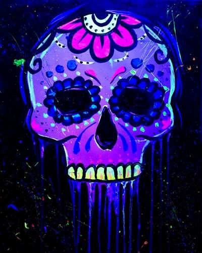 A Black Light Calavera Sugar Skull paint nite project by Yaymaker