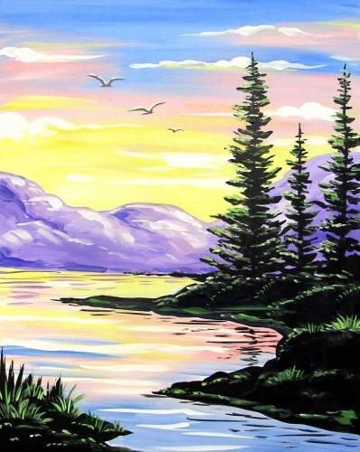 A Joyful Morning Break paint nite project by Yaymaker