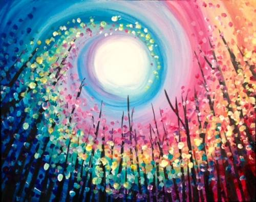 A Up at the Colourful Trees paint nite project by Yaymaker