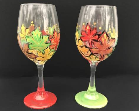 A Autumn Splendor Wine Glasses paint nite project by Yaymaker