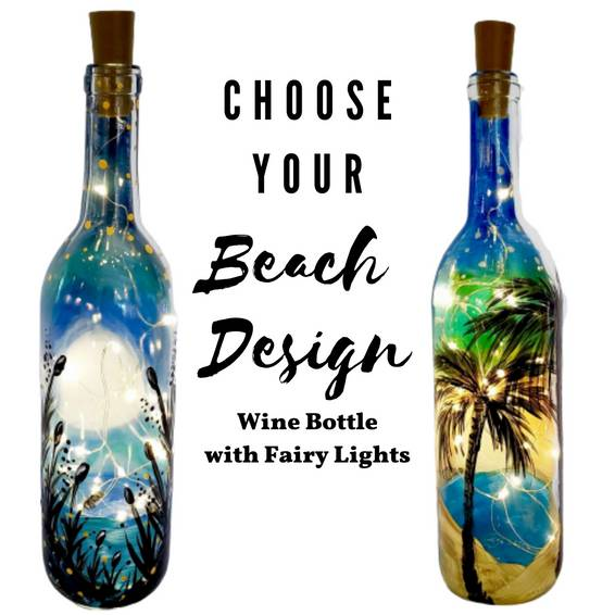 A Choose Your Beach Design Wine Bottle with fairy lights experience project by Yaymaker
