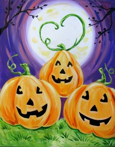 A Happy Family Happy Halloween paint nite project by Yaymaker
