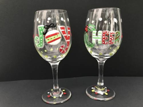 A Holiday Cheer Wine Glasses paint nite project by Yaymaker