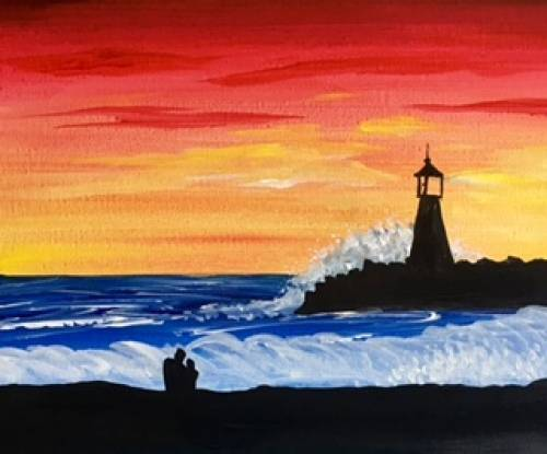 A Lovers Lighthouse paint nite project by Yaymaker