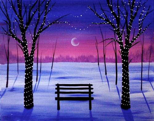 A Winter Tree Lights paint nite project by Yaymaker